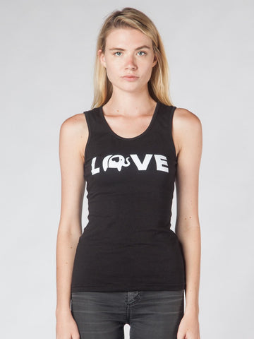 Elephant Love Black Tank Top