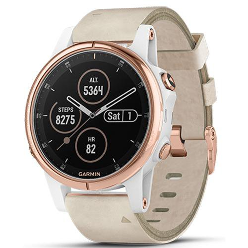 Garmin Fenix 5S Plus Rose Gold Case with Leather Band (Sapphire Edition) Beige - Front View