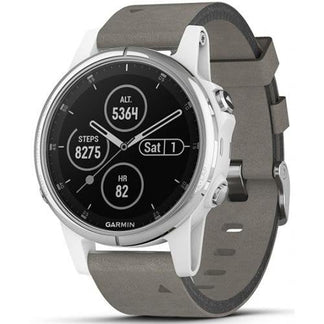 Garmin Fenix 5s Plus White Case with Suede Band (Sapphire Edition)