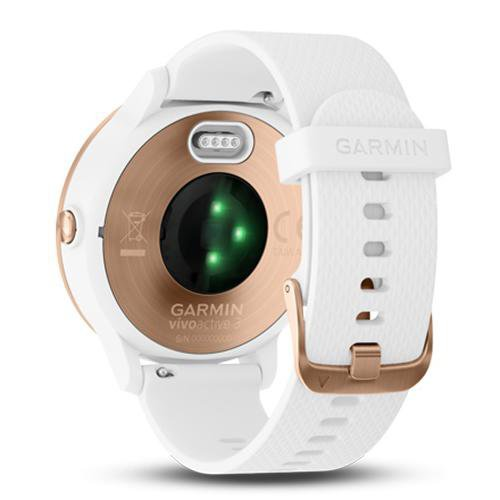 Garmin Vivoactive 3 Rose Gold Case (with Silicon Band) Whie - Back Side View