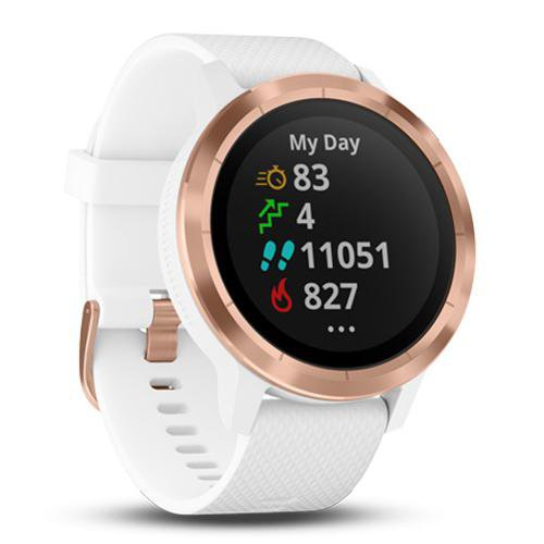 Garmin Vivoactive 3 Rose Gold Case (with Silicon Band) Whie - Front Side View
