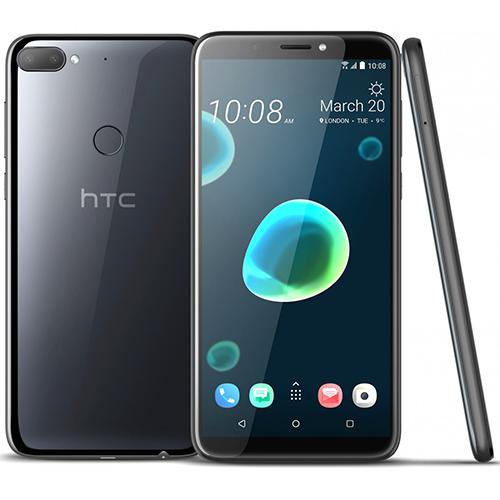 HTC Desire 12+ Black - Front Back View