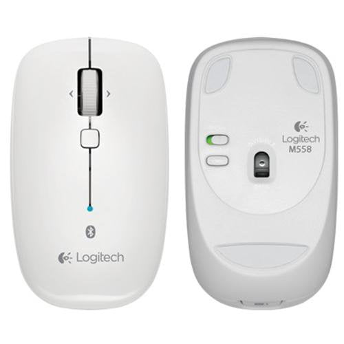 Logitech M558 Bluetooth Mouse (White) - Front Back View