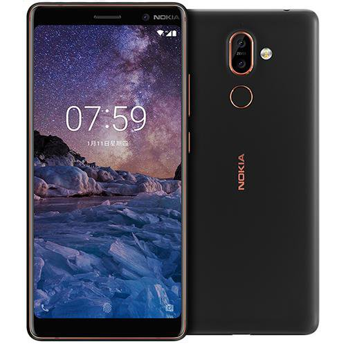 Nokia 7 Plus (TA-1062) Black - Front Back View