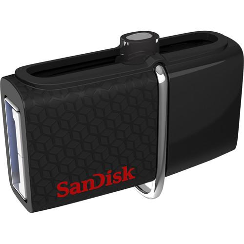 SanDisk Ultra Dual USB 3.0 Flash Drive Black - Front View