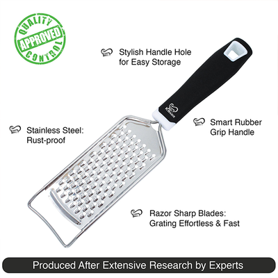 Cheese Grater & Shredder - Stainless Steel with Ergonomic Silicone Handle