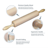 Rolling Pin - Classic Wood - Ideal for Baking Needs - Professional Dough Roller