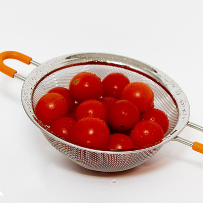 Fine Mesh Stainless Steel Strainer Set of 3 with Silicone Handles - Large, Medium & Small Size