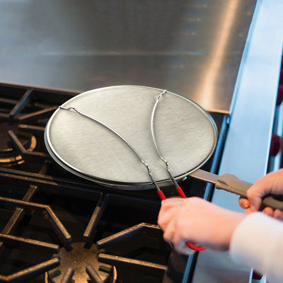 "Splatter Screen for Cooking 13"" - Silicone Handle - Stops Hot Oil Splash - Heavy Duty Ultra Fine Mesh"