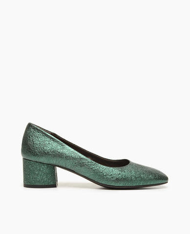 Coclico women's green metalic leather block heel shoe