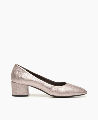 Coclico pink metallic women's pump with block heel