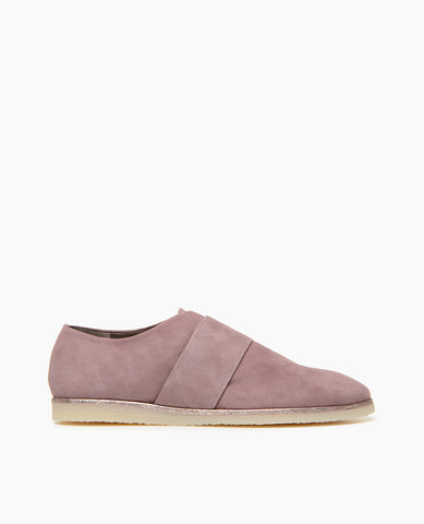 Coclico Women's Casual Flat with crepe sole in lilac suede