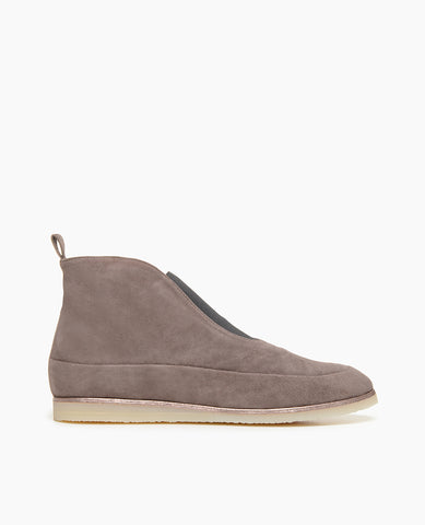Coclico Casual Flat Bootie with Crepe Sole in Cinder Suede