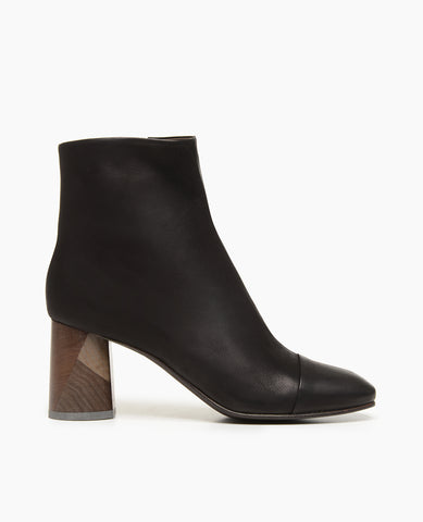 Coclico Classic High Wood Heel Women's Bootie in Black Leather