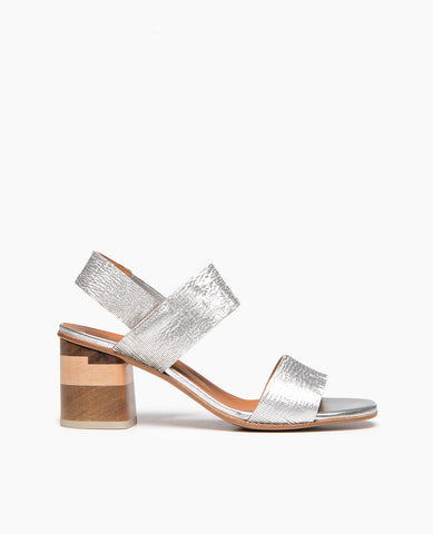Coclico women's solid tri toned wooden heel in a delicate detailed silver. Coclico shoes are sustainably made in Spain.