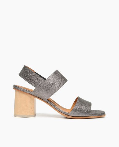 Coclico women's wooden block heel in a dark grey metallic leather. Coclico shoes are sustainably made in Spain.