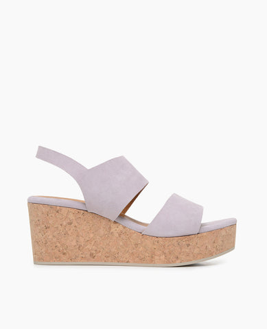 Coclico women's impact-absorbent classic cork wedge with elastic slingback in suede. Coclico shoes are sustainably made in Spain.