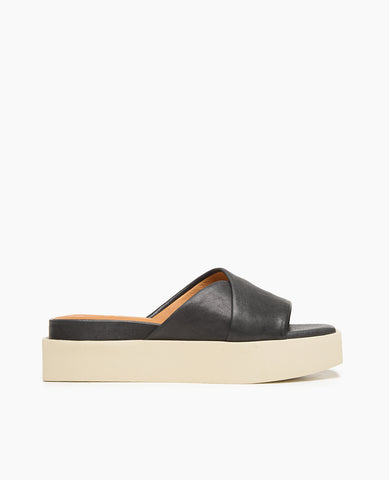 Coclico women's summer platform slide in black leather with a creamy white flatform sole. Coclico shoes are sustainably made in Spain.