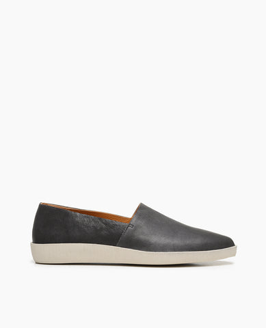 Coclico women's simple clean cut loafer in dark  Spanish leather with a sporty rubber sole. Coclico shoes are sustainably made in Spain.