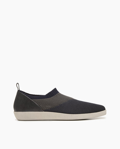 Coclico women's slipper-like flat made with three tones of complementary stretch fabric. Coclico shoes are sustainably made in Spain.