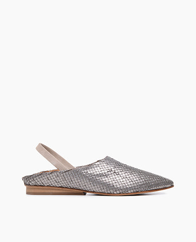 Coclico women's babouche inspired slingback flat in pewter snake embossed leather. Coclico shoes are sustainably made in Spain.