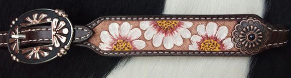 Showman ® Single Ear Headstall w/hand Painted White Sunflowers
