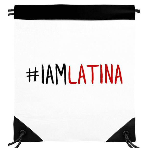 I Am Latina White Drawstring Backpack