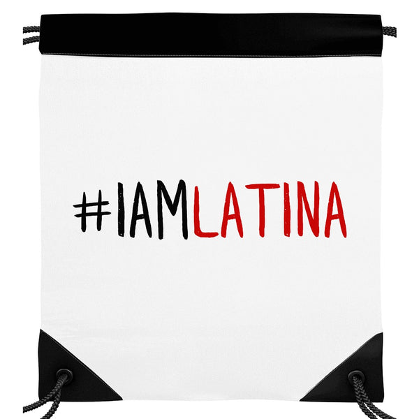 I Am Latina Off-White Drawstring Backpack