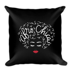 Afro Chica Black Square Pillow