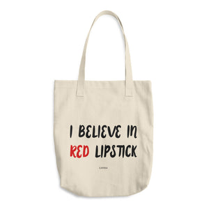 I Believe In Red Lipstick Cotton Tote Bag