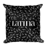 Afro Latina Black Square Pillow