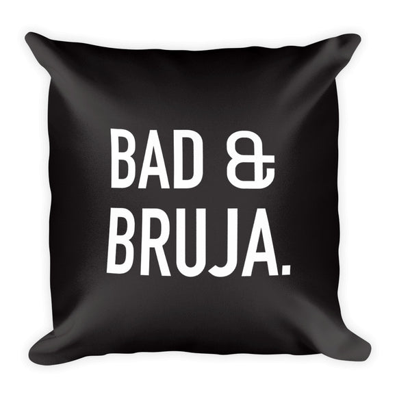 Bad & Bruja Square Pillow in Black