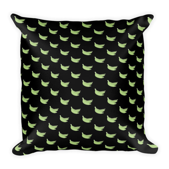 Platanos Pattern Square Pillow in Black