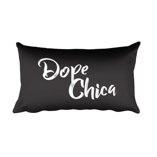 Dope Chica Rectangular Pillow in Black