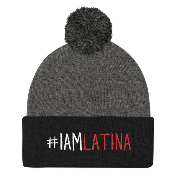 I Am Latina in White & Red Pom Pom Knit Beanie