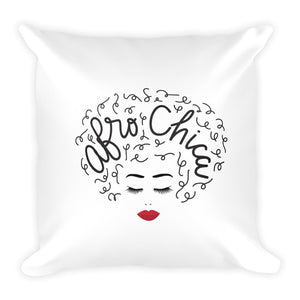 Afro Chica White Square Pillow