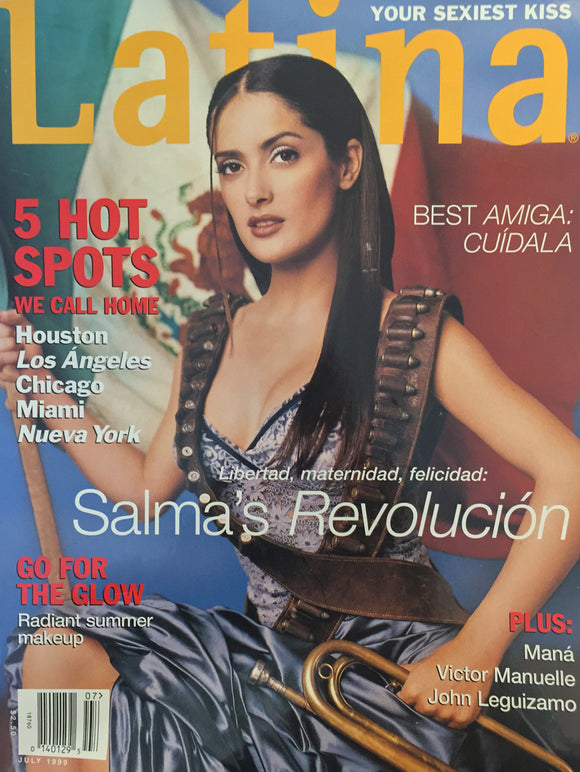 Salma Hayek Mexican Revolution Latina Cover July 1999 - 18x24 Canvas Poster