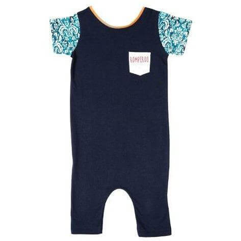 Classic Navy cotton romper - romperoo