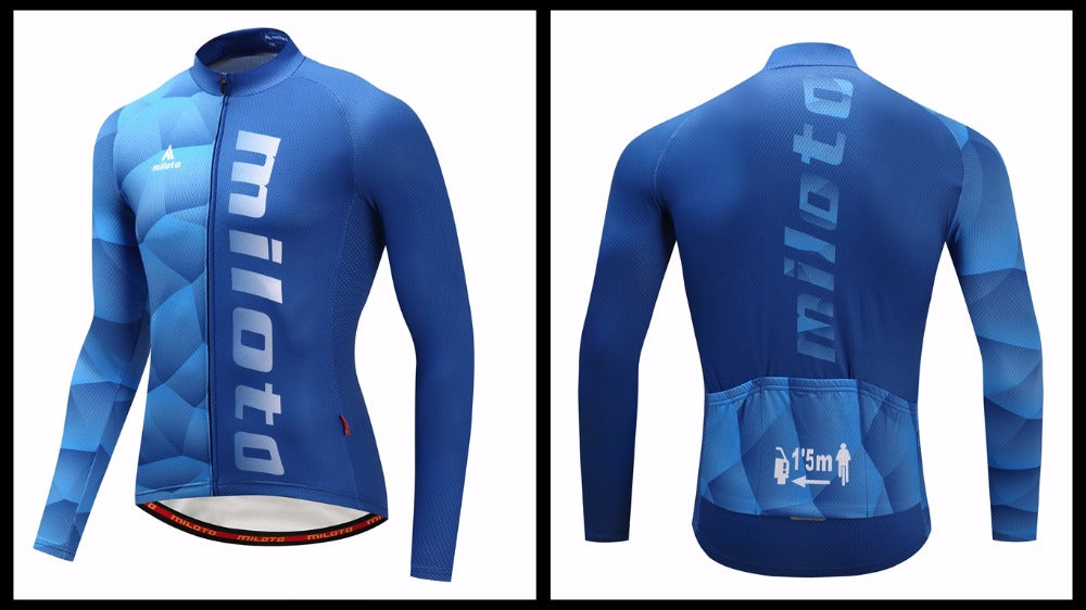 Sea Blue Long Sleeve Cycling Jersey