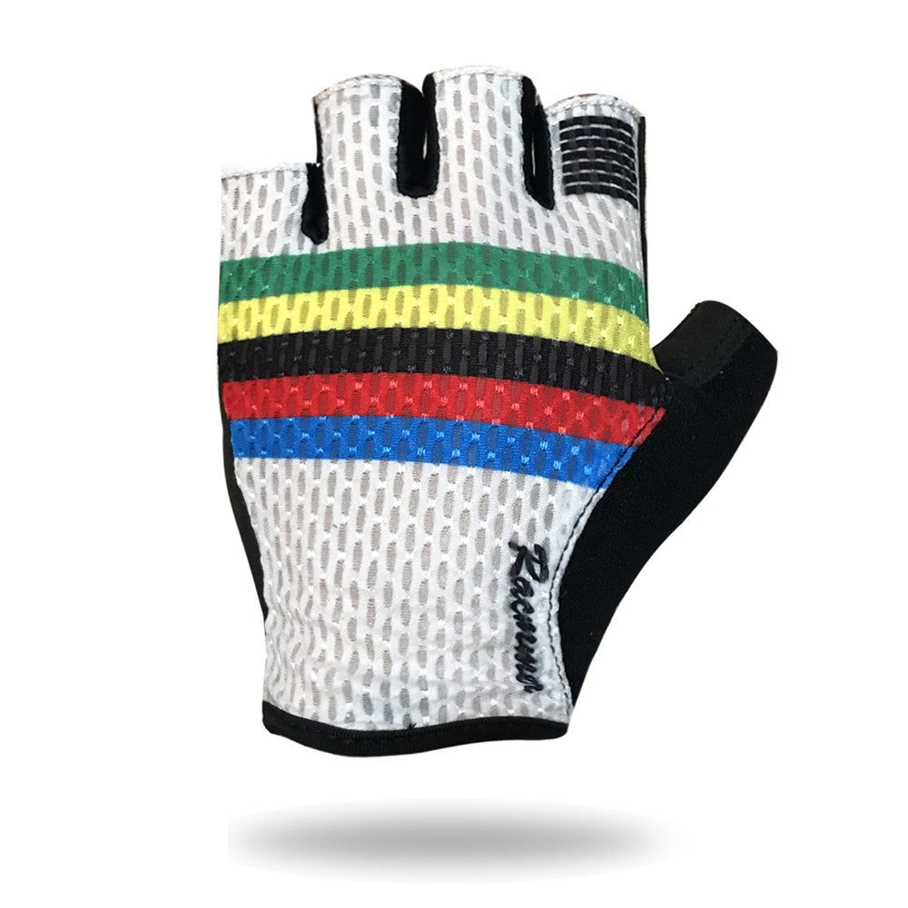 Half Finger Cycling Glove (White + Multi-stripe)