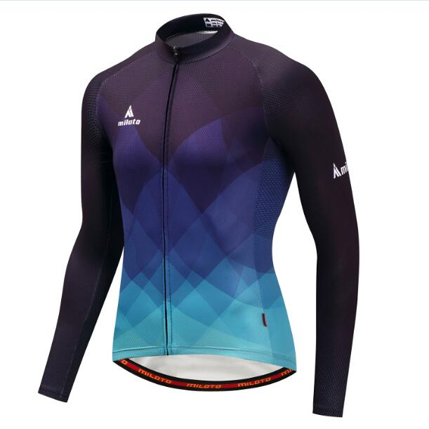 Blue Fade Long Sleeve Cycling Jersey
