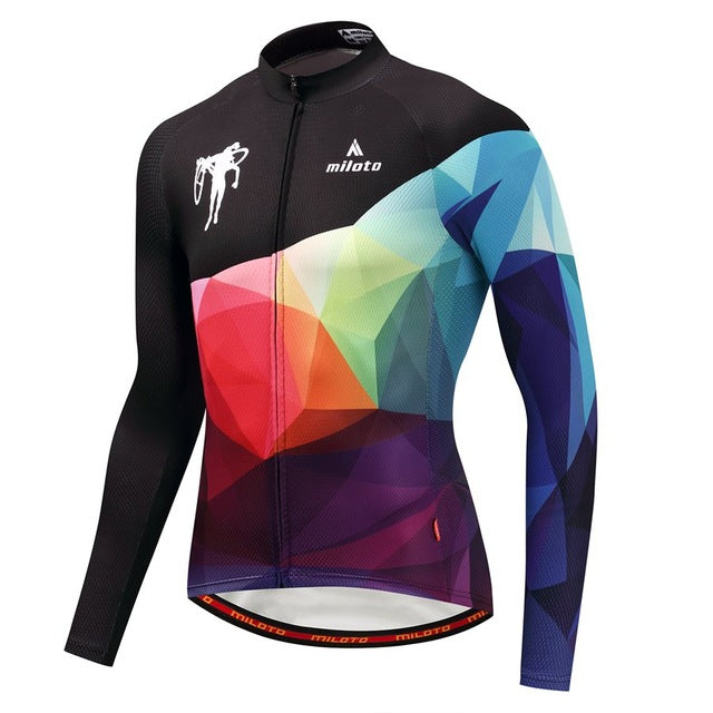 Abstract Diamond Cycling Jersey (Long Sleeve)