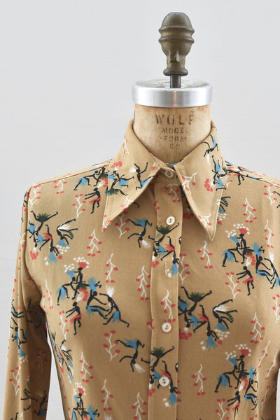 Tribal Print Long Sleeve Shirt - Pickled Vintage