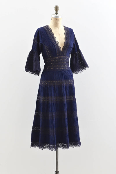 1950s Vampy Pleated Lace Dress - Pickled Vintage