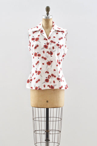Red Floral Top - Pickled Vintage
