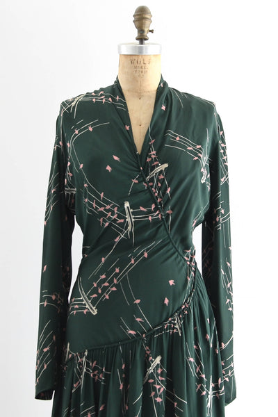 1940s Green Novelty Print Dress - Pickled Vintage