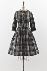 Button Front Plaid Dress