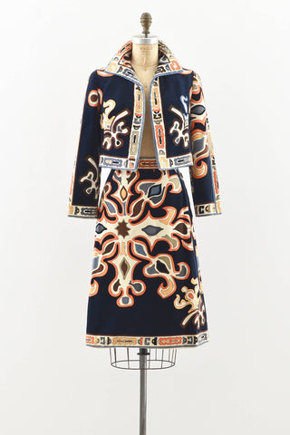 Emilio Pucci Geometric Velvet Jacket and Skirt