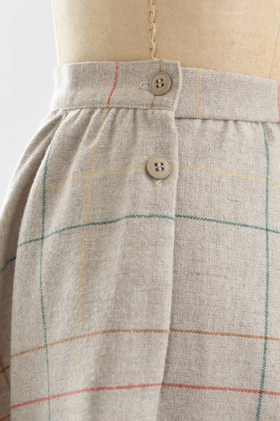 70s Oatmeal Plaid Skirt - Pickled Vintage