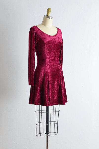 Vintage Cranberry Velvet Dress - Pickled Vintage